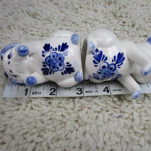 Vintage Kitchen - 'FINAL''Pair Blue/White Pig S/P Shakers